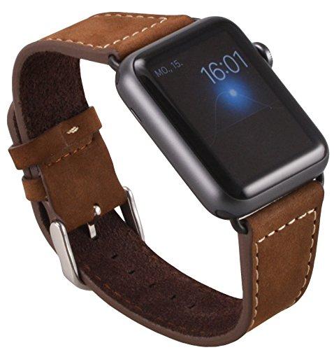 Apple Watch Lussuoso braccialetto / Cinturino dell'orologio con chiusura strap, in vera pelle scamosciata con Pregiato cinturino per orologio nero / Adattatore per orologio / Connettore strap con chiusura di metallo 42 mm Basic, Sport, Edition - in marrone di OKCS