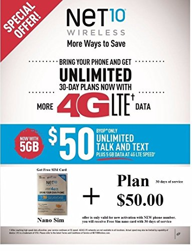 Net10 PreLoaded Nano Sim for Free ATT Network with $50 Plan NEW Activation Only- Free Shipping (Net10 Service Plan Card compare prices)