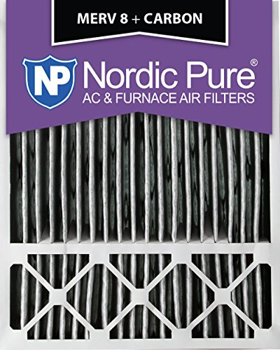 """Nordic Pure 20x25x5HPM8C-2 Honeywell Replacement Pleated MERV 8 Plus Carbon Filter (2 Pack), 20 x 25 x 5"""""""