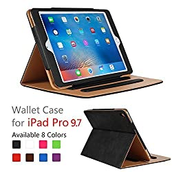 iPad Pro 9.7 Case - Leather Stand Folio Case Cover for Apple iPad Pro 9.7 Inch Case 2016, with Multiple Viewing Angles, Document Card Pocket ,Color (Black)