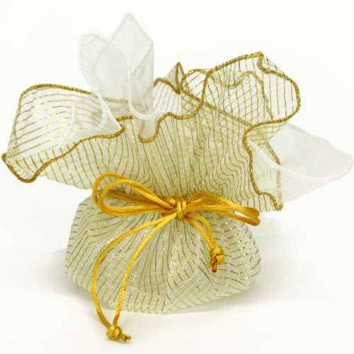 10 Designer Organza Fabric Gift Bags Pouches Party Favor Gifts Packaging Metallic Gold
