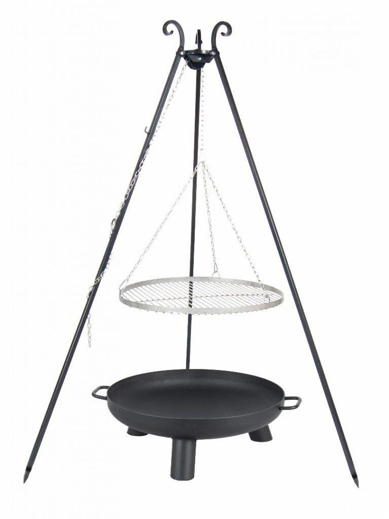 Kingdiscount® Schwenkgrill Komplett-Set mit Edelstahl-Rost 50 cm, Feuerschale 60 cm, Dreibein 180 cm und Kette günstig online kaufen