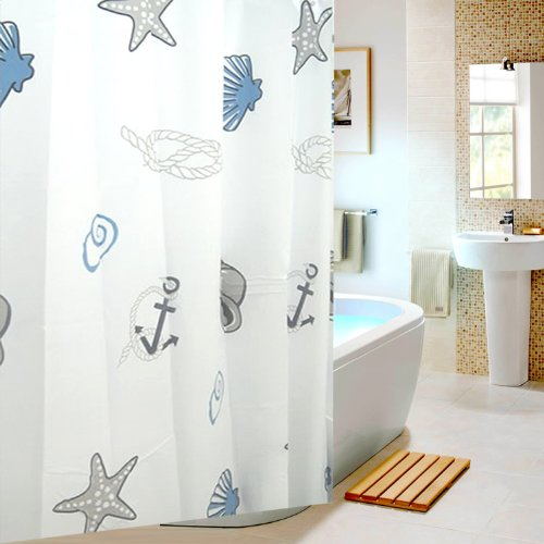 Eforgift Eco-Friendly Sea Pattern Peva/Eva Shower Curtain Waterproof,Non-Mildew Bathroom Curtain For Kids, 72-Inch By 78-Inch,Blue/White front-287887