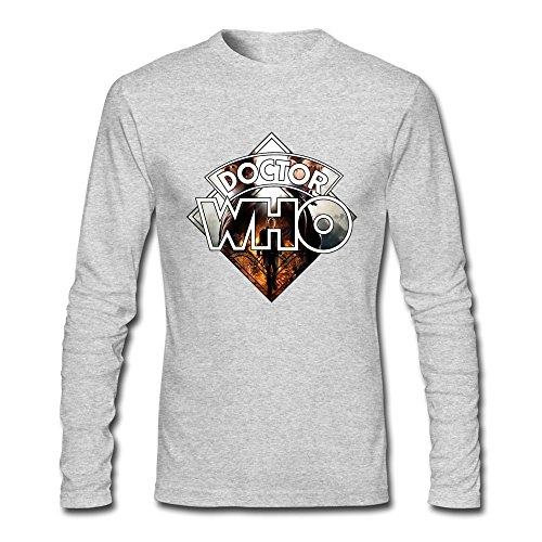 HOORIE Men's Doctor Who Logo T-shirt HeatherGray XX-Large (Dr Who Engagement Ring compare prices)