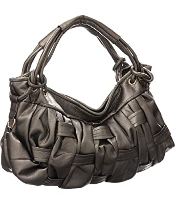 Pewter Large ''Modern Weave'' Hobo
