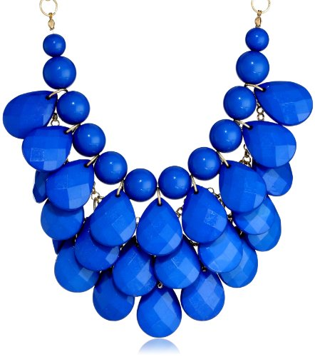 Opaque Teardrop Statement Gold Royal Blue Necklace, 16