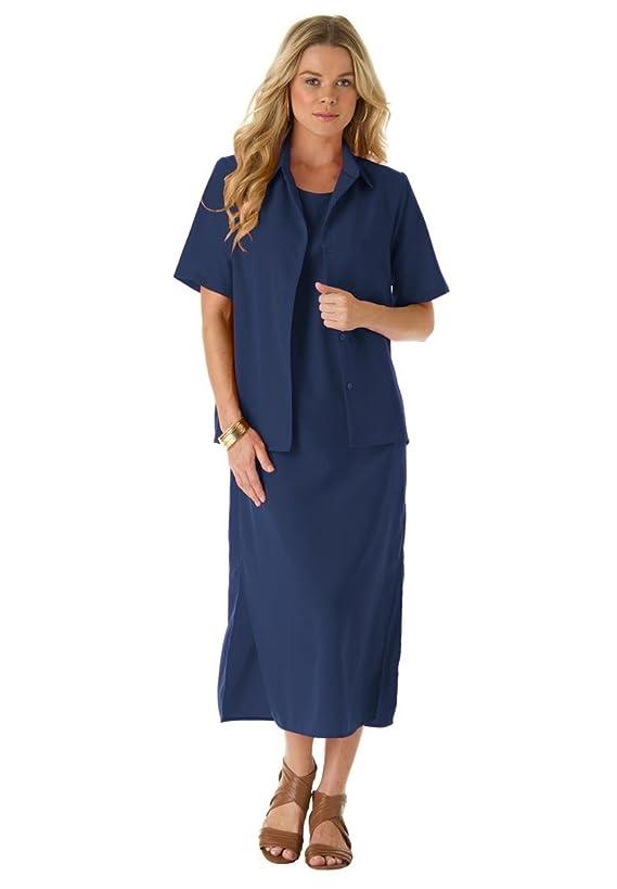 Roamans Women's Plus Size Peachskin Shift Jacket Dress