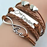BlueTop(TM) Vintage Silver Tone Infinity Love Two Heart One Direction Sign Rope Knit Coffee Leather Bracelet