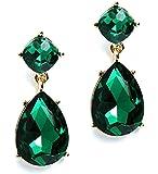Heirloom Finds Faceted Green Crystal Teardrop Dangle Earrings in Gold Tone