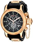 Invicta Russian Diver Swiss Made Men's Quartz Watch with Black Dial Chronograph Display and Rose Gold Plated Stainless Steel and Black PU Strap 15567