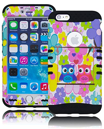 "Bastex Heavy Duty Hybrid Protective Kickstand Case Cover - Multi Colored Flowers With Love Owls For Apple Iphone 6 Plus, 5.5"" front-929603"