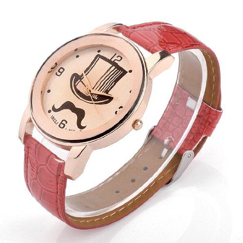 Better Dealz UK Lady Mage Cap+Moustache Pettern Beige Dail Rose Gold Case Quartz Wrist Watch-Red Lether