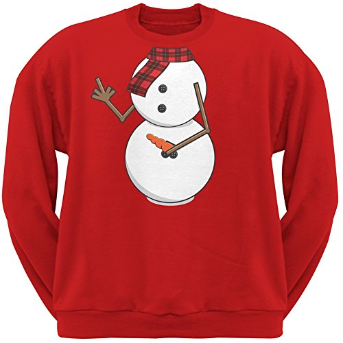 Middle Finger Snowman Body Costume Red Adult Crew Neck Sweatshirt