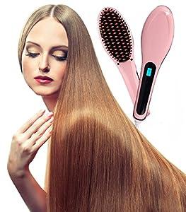 WELOVE Fast Hair Straightener Hot-Air Brushes Hair Combs Anti Static Ceramic, Anti Scald, Detangling Hair Brush, Instant Magic Silk Straightening Styling Heating Massage, Zero Damage for All Hair Pink