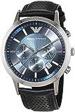 Emporio Armani Classic Chronograph Blue Dial Leather Strap Mens Watch AR2473