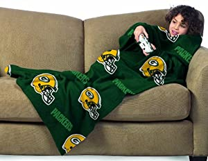 NFL Green Bay Packers Youth Size Comfy Throw Blanket with Sleeves