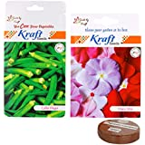 Flower And Vegetable Seeds And Cocopeat Combo (2 In 1) – Vinca Mix (Flower) And Lady Finger Hybrid (Vegetable)...