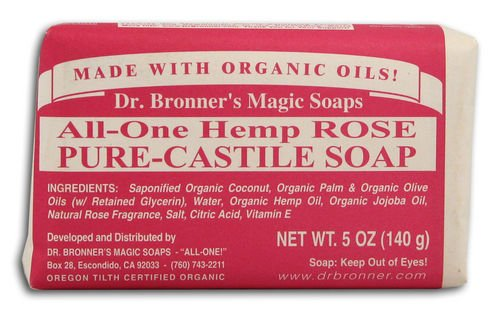 Dr Bronner Hemp Rose Pure Castile Soap Organic (Pack of 3)