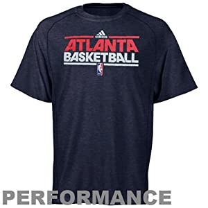 NBA adidas Atlanta Hawks On-Court Practice Performance T-Shirt - Heathered Navy Blue by adidas