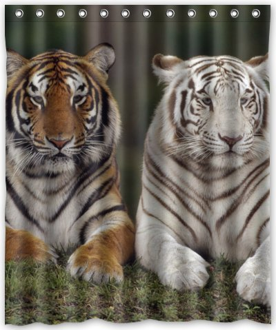 Outlet-Seller Custom Feral but Cute Tiger Waterproof Bathroom Fabric Shower Curtain 60