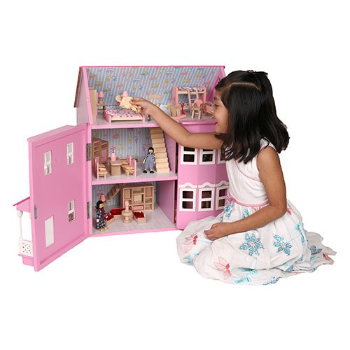 Mamakiddies Victorian Wooden Doll House/Furniture and Dolls (Pink)
