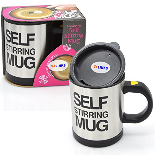 Valinks(TM) Self Stirring Coffee Mug - Self Stirring, Electric Stainless Steel Automatic Self Mixing Cup and Mug- Cute & Funny, Best for Morning, Travelling, Home, Office, Men and Women