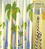 schöne Kindergardine Schlaufenschal Safari Deko Kinderzimmer HxB 260x140 cm einfach kürzbar - blickdicht - Giraffen & Palmen Vorhang in geprüfter Top Qualität...auspacken