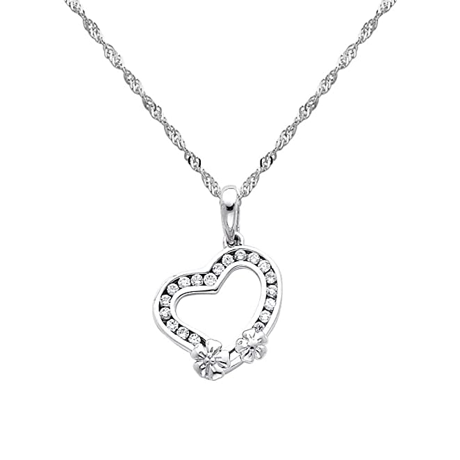 o_0) 14k White Gold Heart CZ Charm Pendant with 1 2mm Singapore