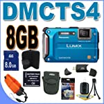Panasonic Lumix TS4 12.1 TOUGH Waterproof Digital Camera with 4.6x Optical Zoom (Blue) BigVALUEInc Accessory Saver 16GB Bundle