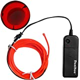 El Wire, Danibos 10 Feet Light Glow Wire Rope Tube Car Bar Dance Party Transparent + Controller (Red)