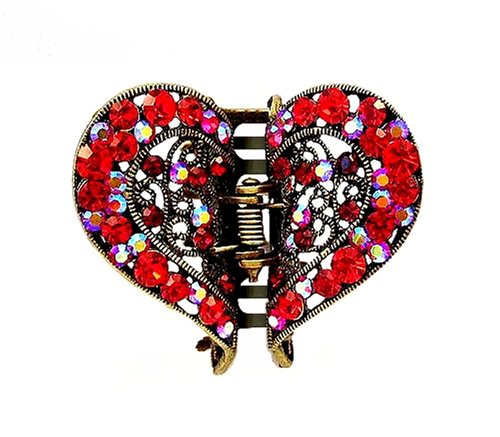 Hair Clip - H49 - Filigree Heart set with Swarovski (tm) Crystal Stones ~ Siam Red