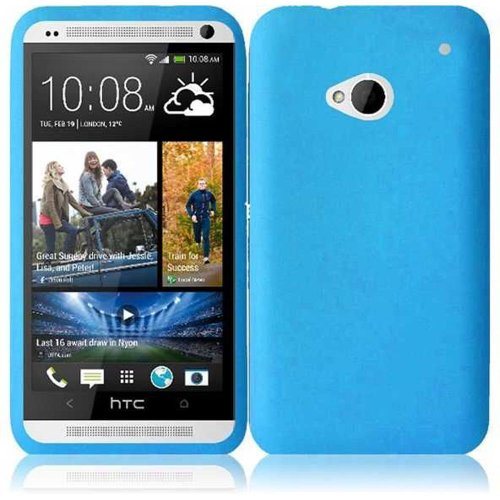 Cell Accessories For Less (Tm) For Htc One M7 Silicone Skin Cover Case - Sky Blue - By Thetargetbuys *Free Shipping*