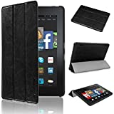 "Swees Amazon Kindle Fire HD 7 (4th Generation, 2014 Oct Release) 7"" Tablet Case (Not fit 2013 generation, Fire 7"" 2015 model, HDX models), Smart Case With Automatic Sleep/Wake Function - Black"