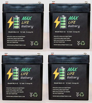 Ml5-12 - 12V 5Ah Security Alarm Battery Replaces 4Ah Dsc Bd4-12 - 4 Pack