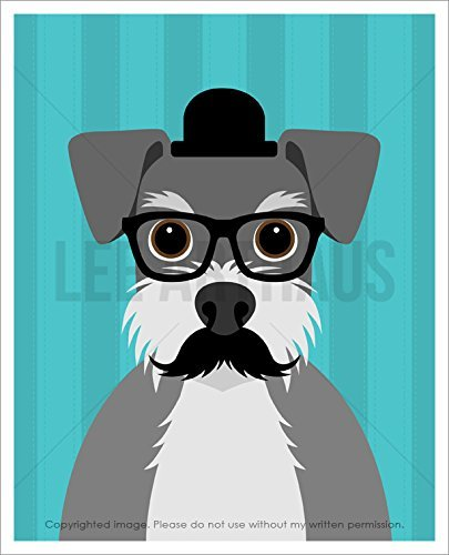 28D Schnauzer Dog with Mustache Wearing Glasses UNFRAMED Wall Art Print by Lee ArtHaus