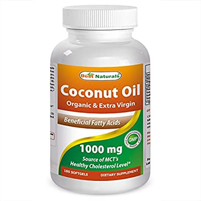 Best Naturals Extra Virgin and Organic Coconut Oil 1000 mg Softgel, 180 Count