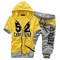 Afoxsos Men\'s Short Sleeve Hooded Sweatshirts Cotton Letter Printed Sports Suits Yellow Size L