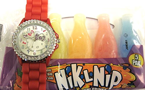 Hello Kitty Watch With Bright Red Silicone Rubber Gel Band. Free Gift Incl. Candy Wax Bottle Mini Drink 5 Pack