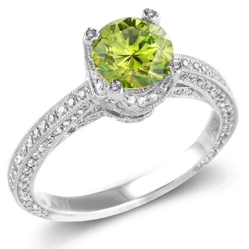 1.25 CT Green Round Center Diamond and 0.6ct Melee in 14K WGD Ring, Size 7. Green Center Clarity: I1 White (GH) Melee Clarity: SI1-2. 4.13 gram setting. Treatment codes: Green Center: F&G , melee: n.