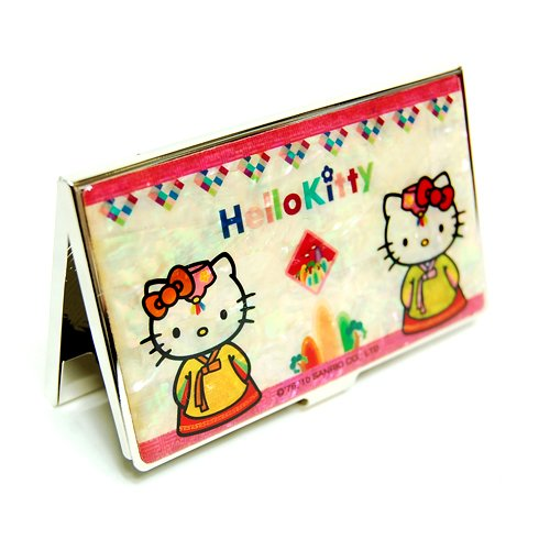 Mother of Pearl Hello Kitty Korean Dress Hanbok Design Metal Business Credit Name Id Card Holder Case Stainless Steel Engraved Slim Purse Pocket Cash Money Wallet
