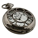 ESS Mens Black Stainless Steel White Dial Antique Pocket Watch with Chain WP055