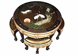 Chinese Oriental Furniture Gold Leaf Round Coffee Table With 4 Nesting Stools And Glass Top