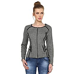 Kaxiaa Blended Grey Jacket For Women (Size-X-Large)