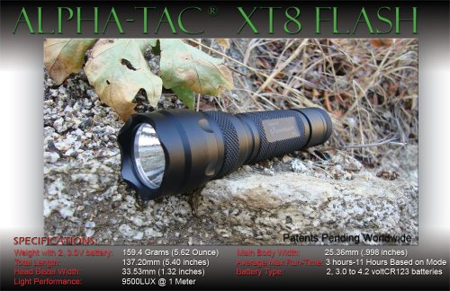 Extremebeam Xt8-L With 5 Modes & Memory & Raised Button High-Output Precision Led Tactical Flashlight (8,500 Lux)
