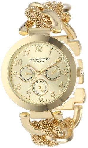 Akribos XXIV AK564YG 38mm Metal Case Gold Tone Steel Bracelet Mineral Women's Watch