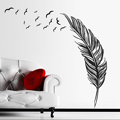 Gillberry New Wall Sticker Birds Feather Bedroom Home Decal Mural Art Decor (B)