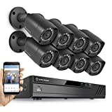 Amcrest HD 1080P-Lite 16CH Video Security System w/ Eight 1.0 Megapixel IP67 Outdoor Bullet Cameras, 65ft Night Vision, HDD Not Included, Supports AHD, CVI, TVI, Analog, & IP Cameras (AMDVTENL16-8B-B)