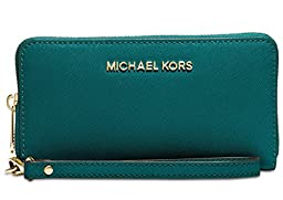 Michael Michael Kors Jet Set Travel Large Coin Multifunction Wallet (Deep Teal)