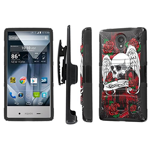 NakedShield Sharp AQUOS Crystal (Skull Wing) Combat Tough Holster KickStand Armor Phone Case (Sharp Aquos Case Armor compare prices)