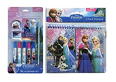 "Disney Frozen ""Sisters Forever"" 9pc Stationary Gift Set! Plus Bonus Frozen Foil 3x5"" 2pk Notepad! Perfect Stocking Stuffers for Your Elsa & Anna Fan!"
